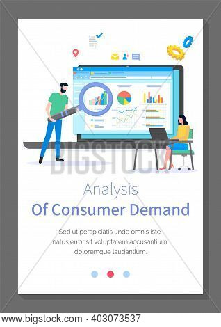 Analysis Of Consumer Demand Site Template. Young Woman Sitting At Laptop. Bearded Man With Cartoon G