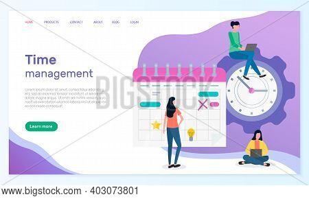 Time Management, Organizing Effective Time, Planning Dates, Business Meetings, Landing Page Of Busin