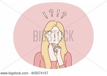 Frustration, Doubt, Having No Idea Concept. Young Confused Woman Cartoon Character Standing And Expr