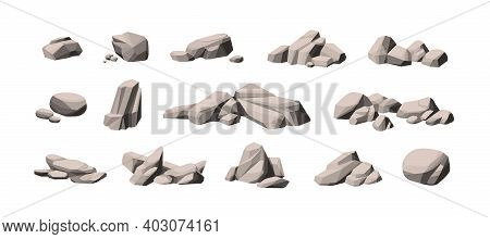Set Of Large And Small Heavy Polygonal Stones. Collection Of Cobblestone Piles. Compositions Of Natu