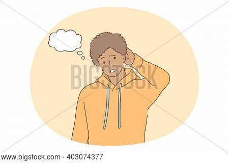Doubt, Stress, Confusion Concept. Young Man Touching Head And Thinking Feeling Unable To Decide Stan