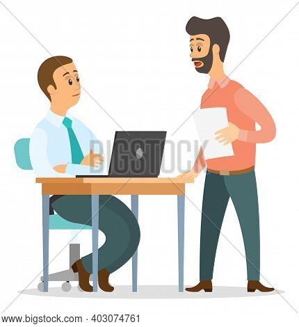 Office Workers Characters Discussing Matters. Surprised Open-eyed Man And Colleague Sitting At Offic
