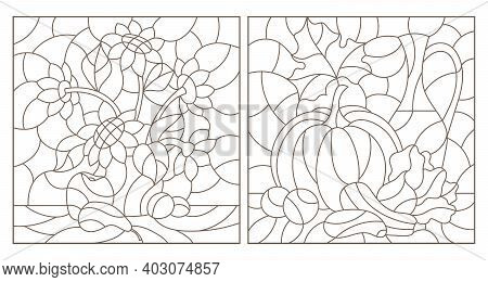 Set Of Contour Illustrations In Stained Glass Style With Vegetable And Floral Still Lifes, Dark Cont