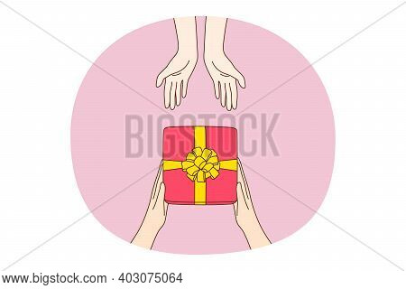 Giving Presents, Gift, Surprise Concept. Human Hands Giving And Taking Holiday Festive Present Box I