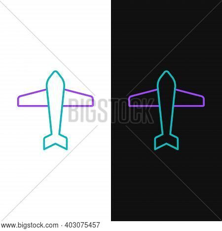 Line Jet Fighter Icon Isolated On White And Black Background. Military Aircraft. Colorful Outline Co
