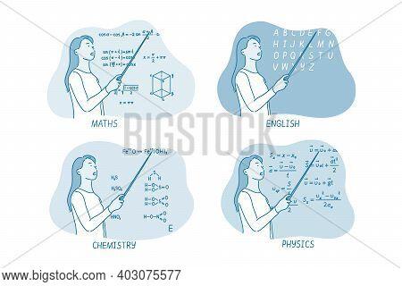 Education, Teacher, Classroom Concept. Young Woman Teacher Of Maths English Chemistry Physics Explai