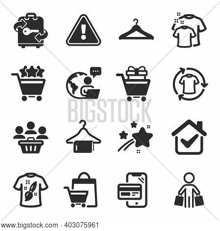 Set Of Fashion Icons, Such As Cloakroom, Shopping Rating, T-shirt Design Symbols. Clean T-shirt, Sal