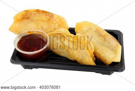 Vegetarian Japanese Gyoza Snack Pack With Sweet Chilli Dipping Sauce Isolated On A White Background
