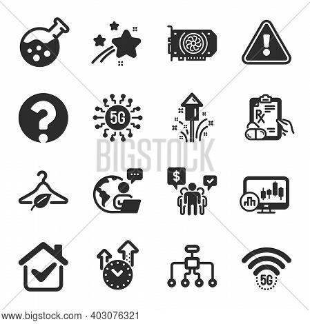 Set Of Science Icons, Such As 5g Wifi, Fireworks, Time Management Symbols. Prescription Drugs, Chemi