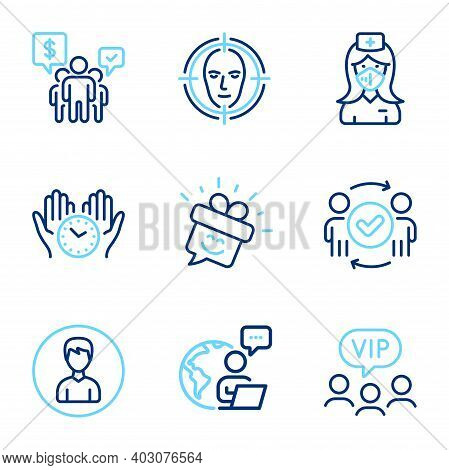 People Icons Set. Included Icon As Vip Clients, Face Detect, Nurse Signs. Teamwork, Person, Approved