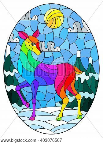 Illustration In Stained Glass Style With A Abstract Rainbow Deer On The Background Of A Winter Lands