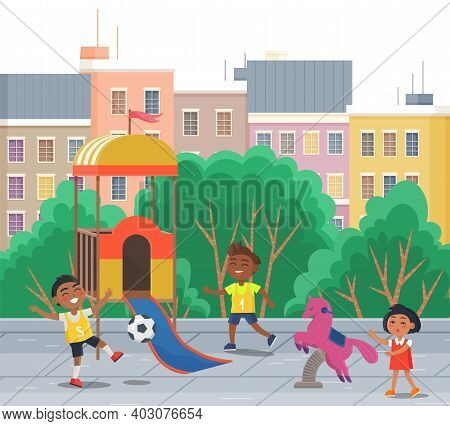 Happy Children Two Boys Playing Soccer Near The Park. The Best Summer Child S Outdoor Activities. Ac
