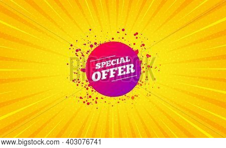 Special Offer Sticker. Yellow Background With Offer Message. Discount Banner Shape. Sale Coupon Bubb