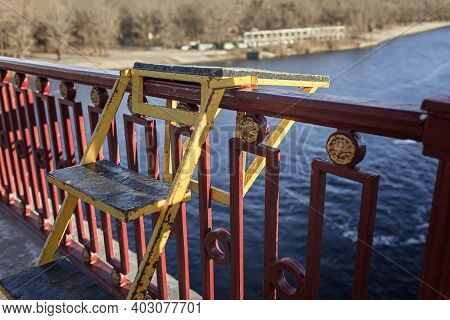 A Rope Jumping Pedestrian Bridge In Winter Sunny Day, Kiev, Ukraine. Extreme Sports, Adrenaline And