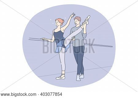 Professional Sport, Ballet, Training Concept. Young Couple Ballet Dancers Practicing Movements On Re