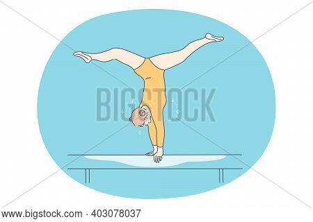 Balance Beam, Gymnastics And Professional Sport Concept. Young Girl Cartoon Character Standing On Ha
