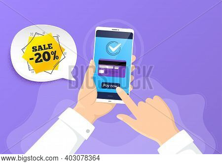 Sale 20 Percent Off Sticker. Pay By Credit Card From Phone. Discount Banner Shape. Coupon Bubble Ico