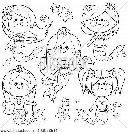 Cute Mermaid Princesses, Fish And Starfish. Vector Black And White Coloring Page
