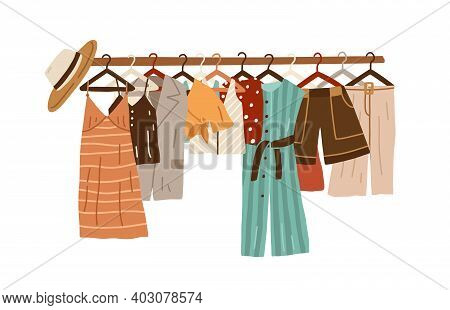 Stylish Fashion Clothes Hanging On Hangers On Garment Rack Or Rail Isolated On White Background. Org