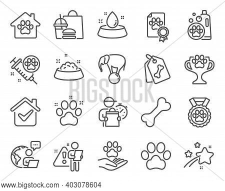Animals Icons Set. Included Icon As Dog Paw, Pets Care, Dog Feeding Signs. Pet Tags, Pet Shampoo, Wa