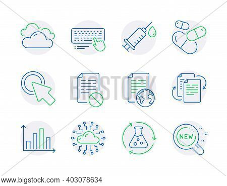 Science Icons Set. Included Icon As Wrong File, Computer Keyboard, Medical Syringe Signs. Diagram Gr
