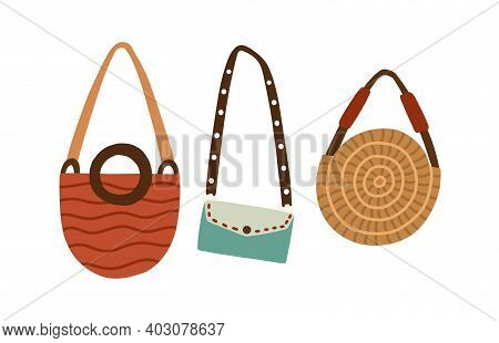 Set Of Modern Fashion Women Bags. Handbag, Round Straw Purse And Clutch With Shoulder Belt. Collecti