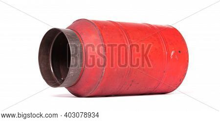 Old Nostalgic Can Isolated On White - Red Can