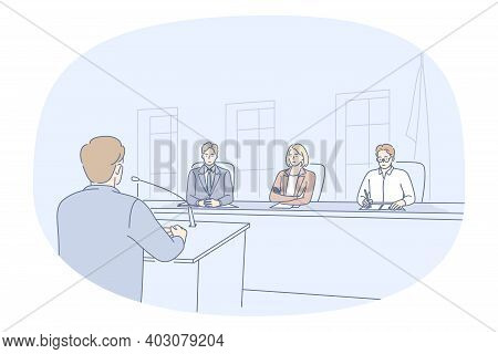 Public Speaker, Meeting, Conference Concept. Young Man Orator Standing Backwards And Making Presenta