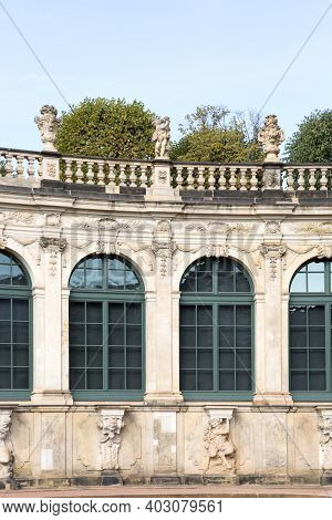Dresden, Germany - September 23, 2020 : 18th Century Baroque Zwinger Palace, 18th Century Baroque Zw