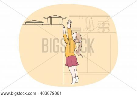 Danger, Risk, Curiosity Concept. Small Girl Cartoon Character Reaching Up For Cooking Pan On Stove I