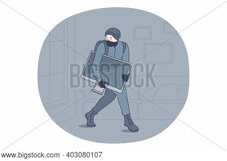 Robbery, Thief And Crime Concept. Young Man Thief Criminal Cartoon Character In Mask And Grey Clothe