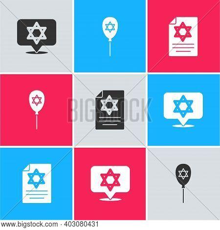 Set Star Of David, Balloon With Star David And Torah Scroll Icon. Vector