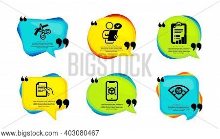 Scissors, Checklist And Augmented Reality Icons Simple Set. Speech Bubble With Quotes. Hold Document