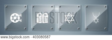 Set Star Of David Necklace On Chain, , Tombstone With Star David And Jewish Synagogue. Square Glass