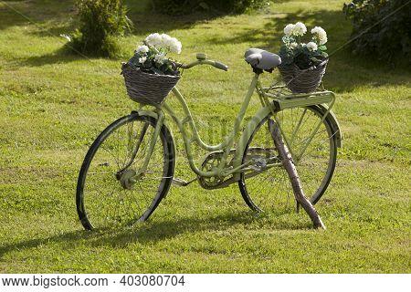 Vesteralen Islands / Norway - August 31, 2017: A Bicycle With A Flower In Vesteralen, Vesterålen, No