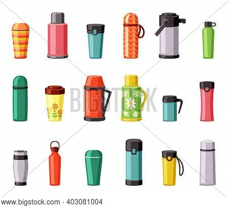 Thermo Mugs And Thermoses Set. Plastic Stainless Steel Red Containers For Hiking Trips And Hot Lunch
