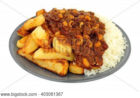 Chilli Con Carne Meal With Half Chips And Half Rice Isolated On A White Background