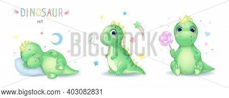 Vector Illustration Of Cartoon Cute Dinosaur Character Set. Sleepping, Sitting Cartoon Watercolor Di