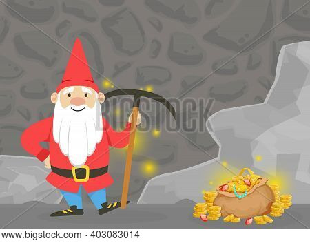 Cute Gnome In Mine Extracting Gems With Pickaxe, Happy Funny Fairy Tale Dwarf Searching For Gold Car