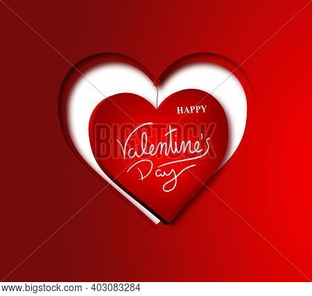 Two Cutouts Of Hearts On A Red Base Placed Concentrically With Happy Valentine's Day Text In The Cen