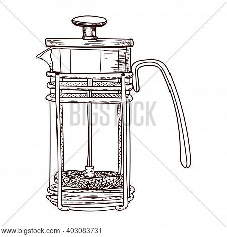 Glass Coffee Maker For Making Coffee, Contour Drawing Brown Isolated On White Background, Stock Vect