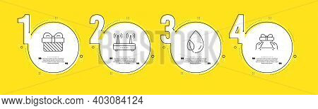 Wifi, Leaf Dew And Gift Line Icons Set. Timeline Process Infograph. Give Present Sign. Internet Rout