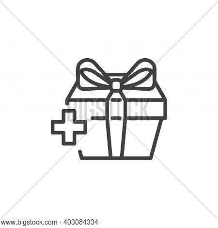 Add Surprise Box Line Icon. Linear Style Sign For Mobile Concept And Web Design. Add Gift Box Outlin