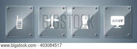 Set Military Army, Aviation Bomb, Jet Fighter And Walkie Talkie. Square Glass Panels. Vector