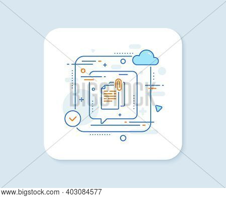 Document Attachment Line Icon. Abstract Vector Button. File With Paper Clip Sign. Office Note Symbol