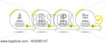 Friend, Headhunting And Income Money Line Icons Set. Timeline Process Infograph. Online Access Sign.