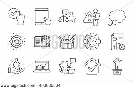 Checkbox, Tablet Pc And Time Management Line Icons Set. Court Judge, Engineering Documentation And T