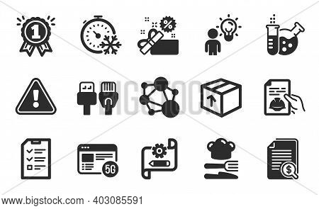 Interview, Cogwheel Blueprint And Food Icons Simple Set. Chemistry Lab, Financial Documents And Pack