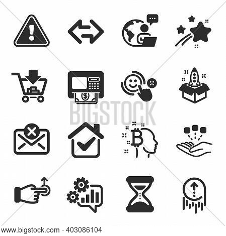 Set Of Technology Icons, Such As Atm, Startup, Consolidation Symbols. Swipe Up, Customer Satisfactio