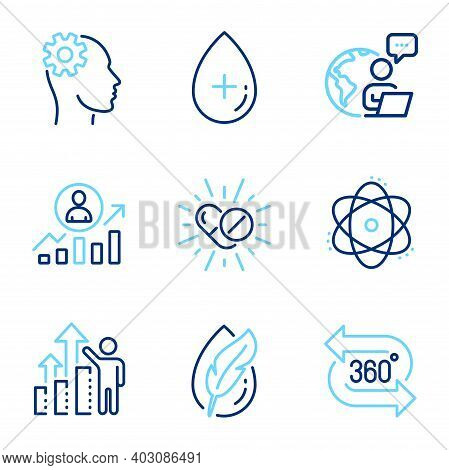 Science Icons Set. Included Icon As 360 Degree, Medical Drugs, Employee Results Signs. Hypoallergeni